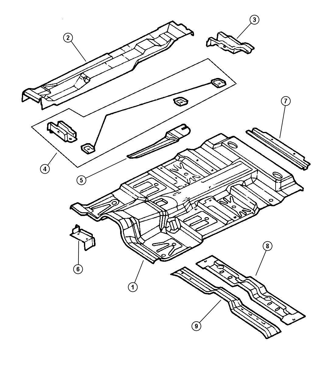 Dodge Dakota Shield. Heat. Floor pan front, floor pan