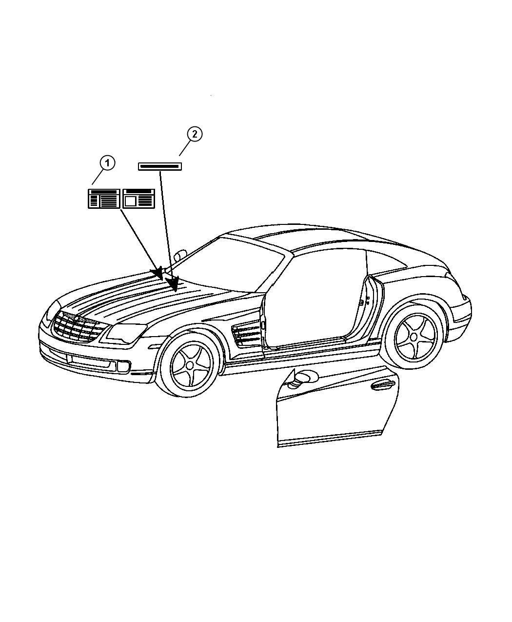 2010 Dodge Dakota Label. Emission. Charted on hood. Build