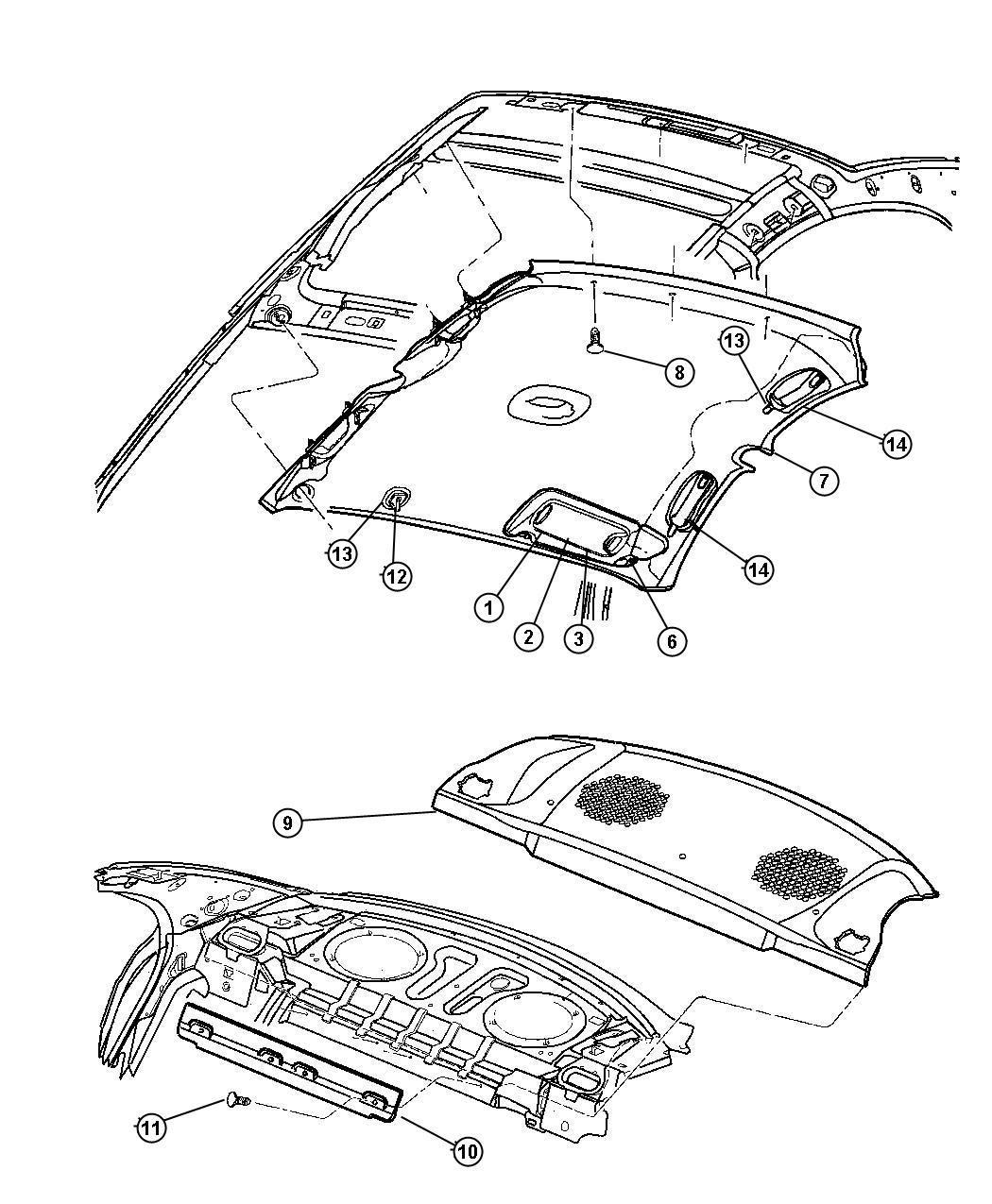 Dodge Dakota Clip Visor Beige Narrow Base Trim All