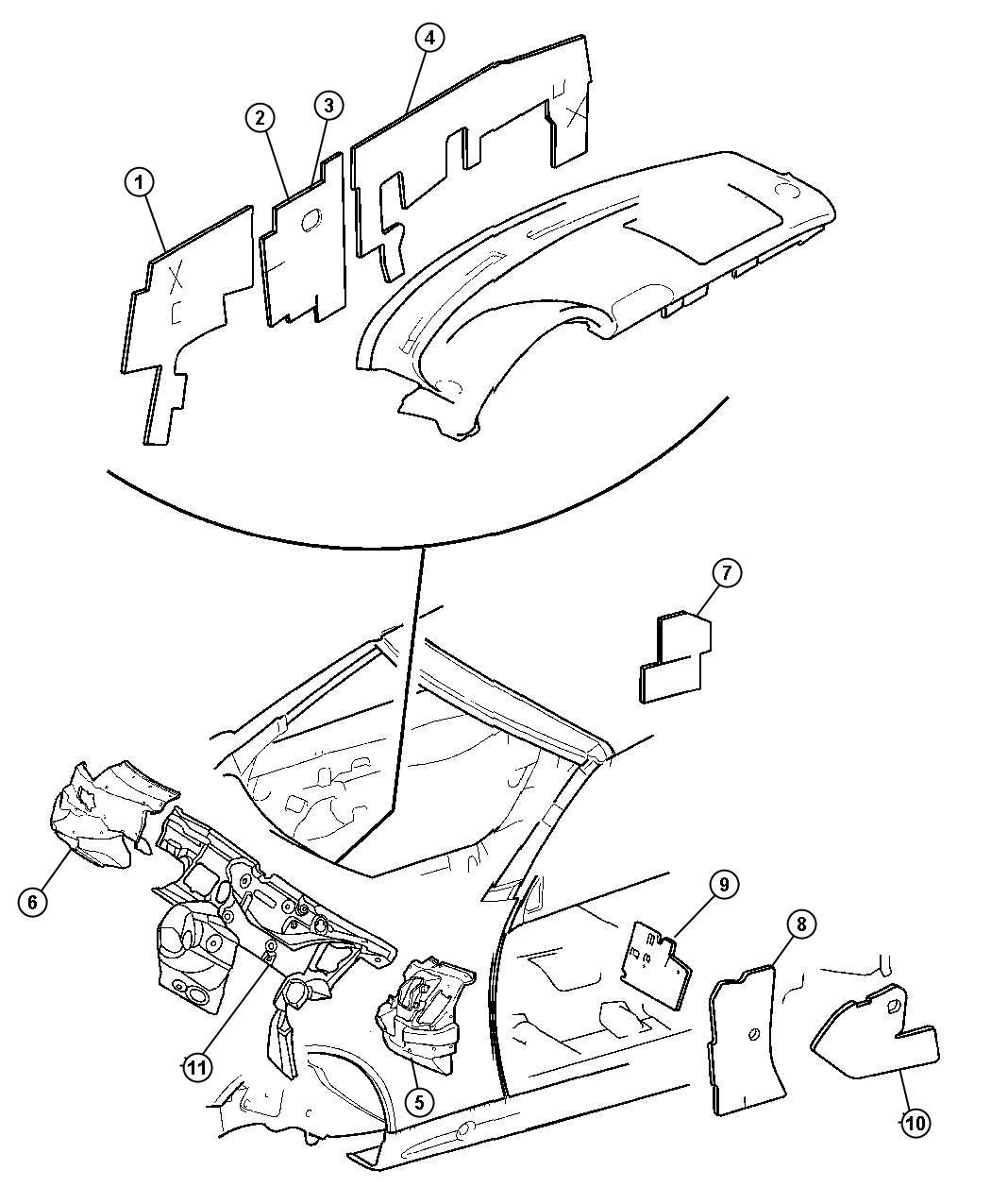 Chrysler Crossfire Insulator, silencer. Dash panel. Left