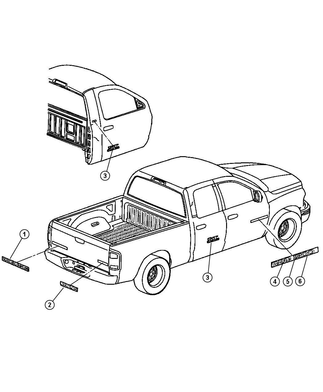 2004 Dodge Ram 1500 Nameplate. Tailgate. Heavy duty. Box