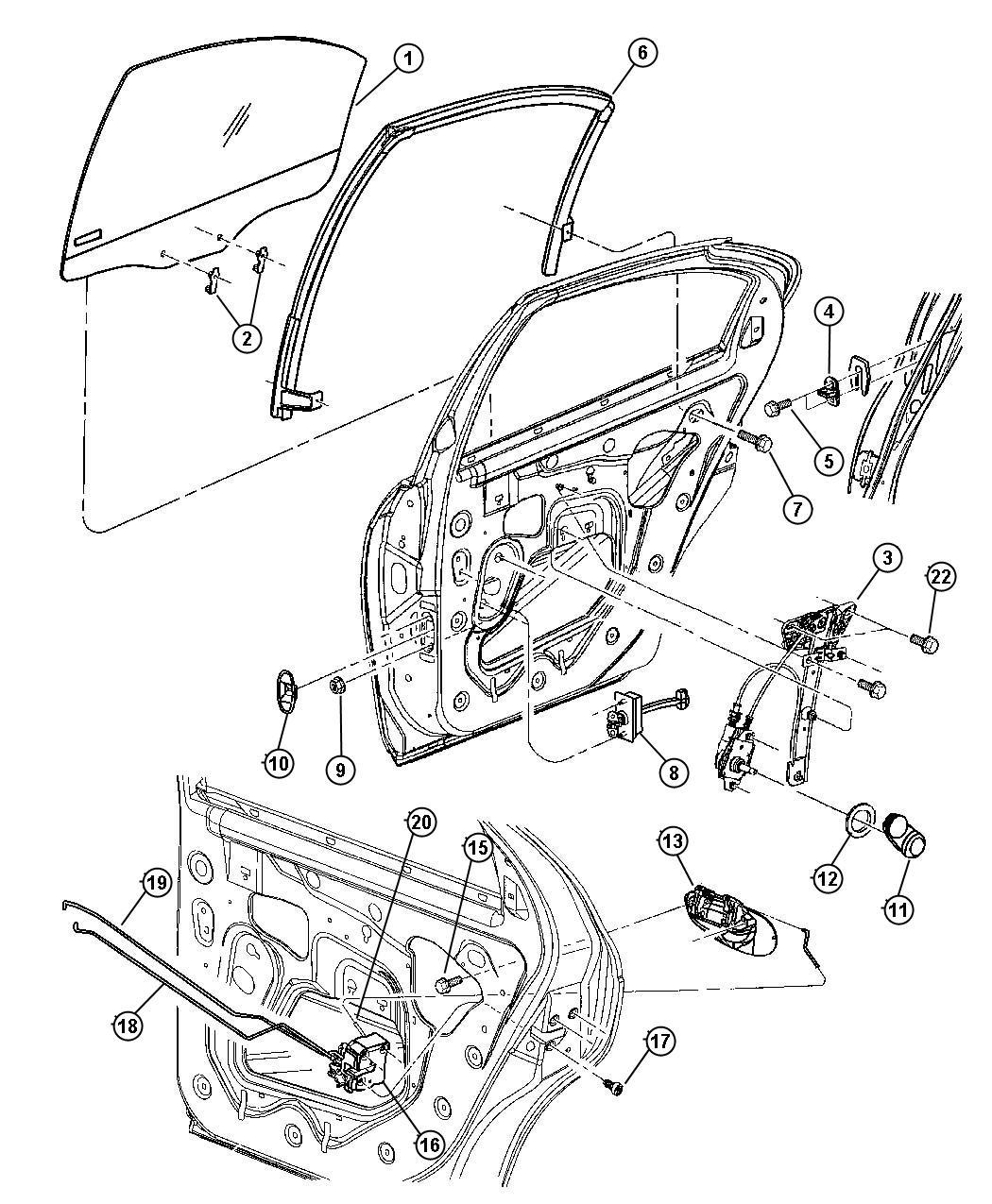 2008 Dodge Avenger Handle. Window regulator. Trim: [all