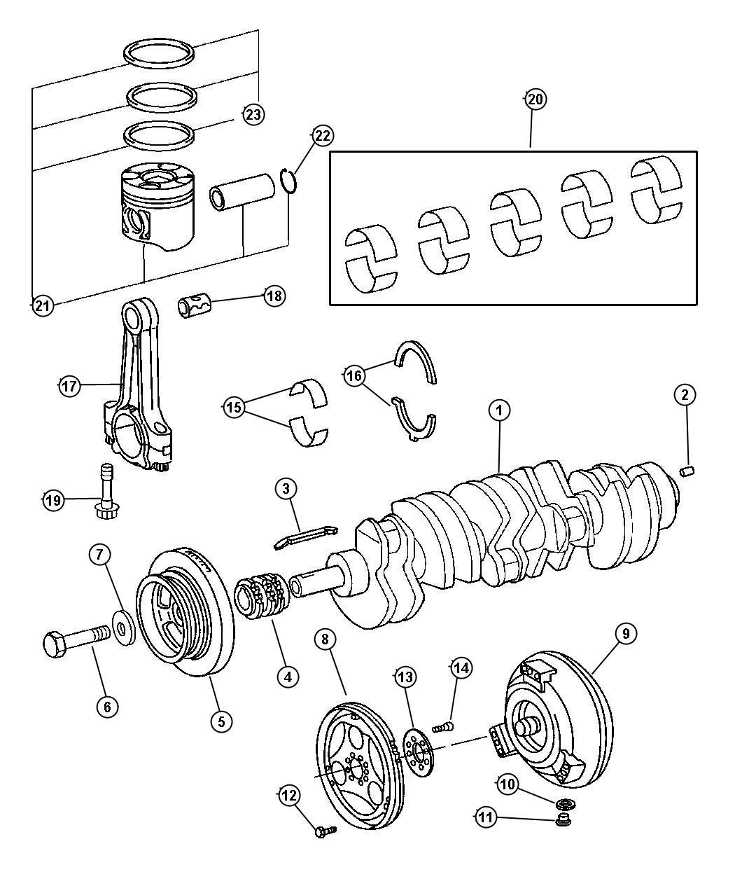 2004 Dodge Sprinter 2500 Gear. Crankshaft. Diesel, engine
