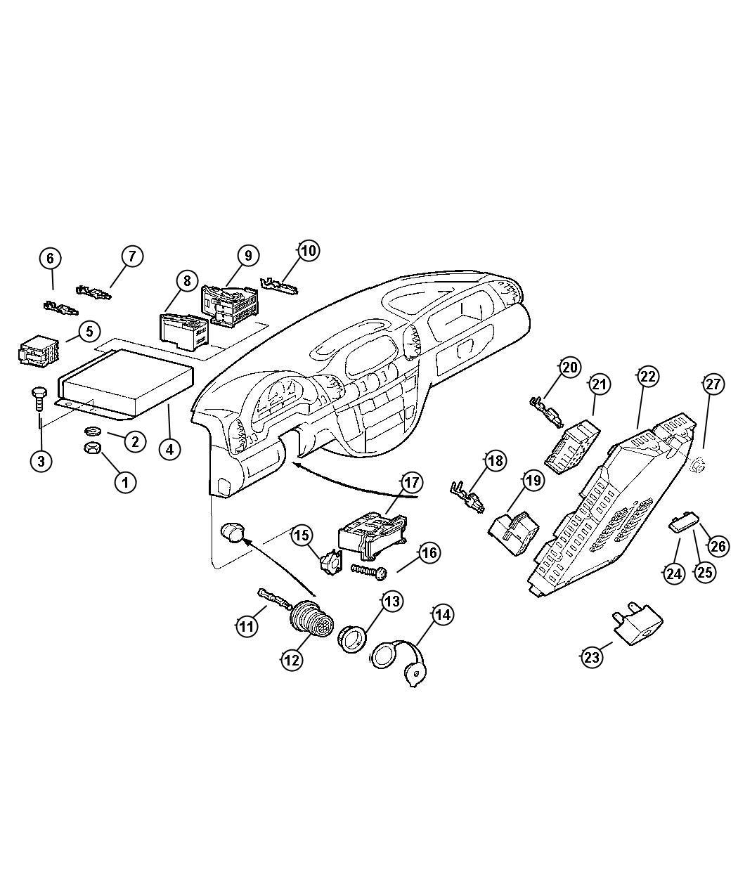2013 Dodge Journey Fuse. Standard. Back of radio. Modules