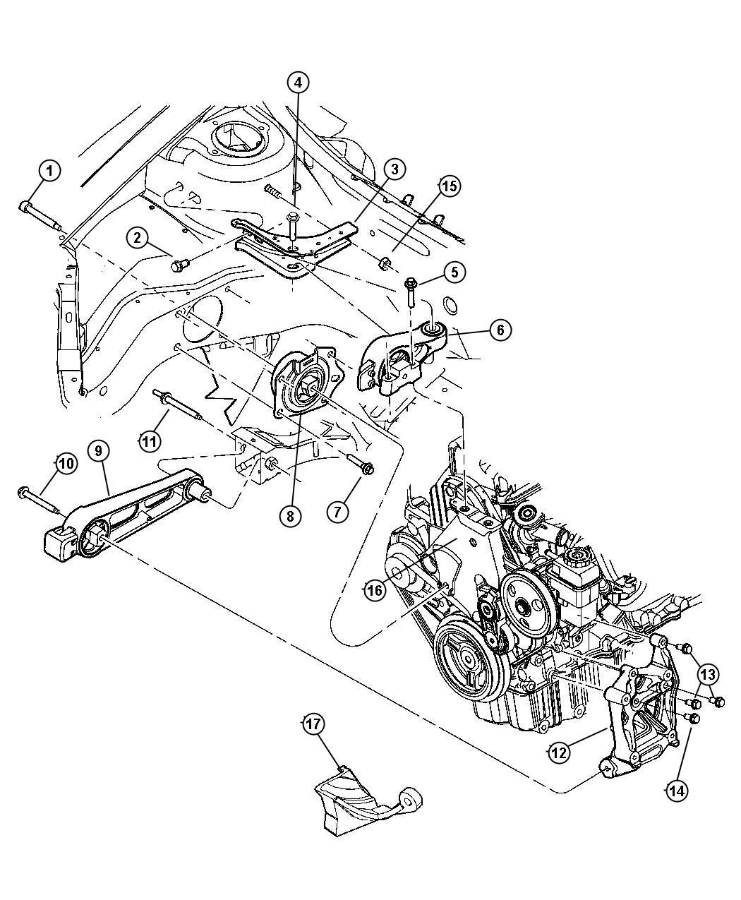 2011 Dodge Ram 4500 Bracket, isolator, strut. Manual