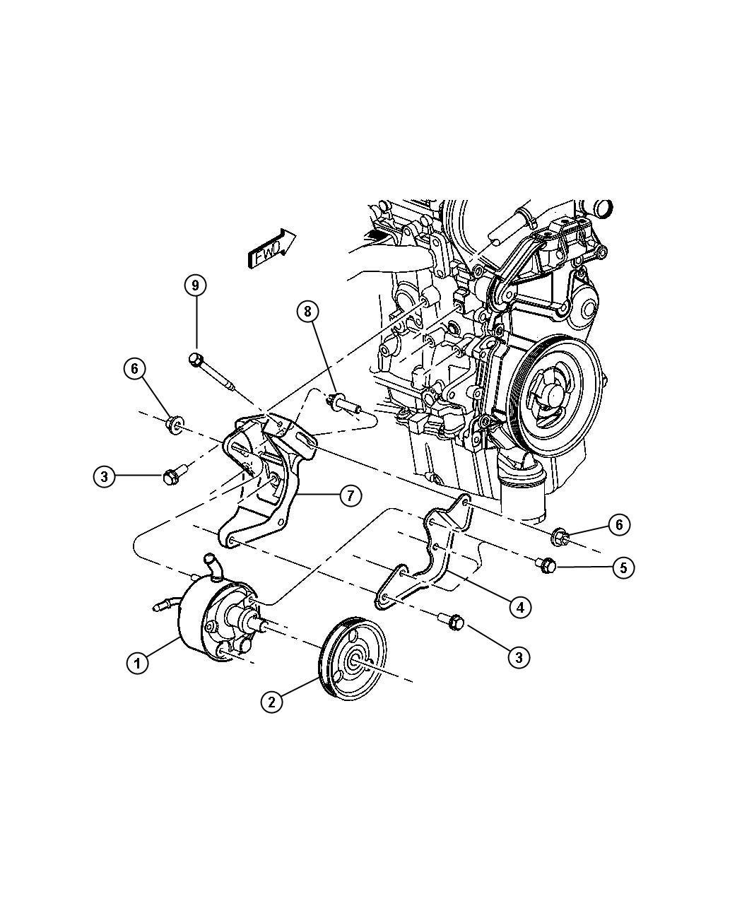 2003 Chrysler Voyager Pulley. Power steering pump. Engine