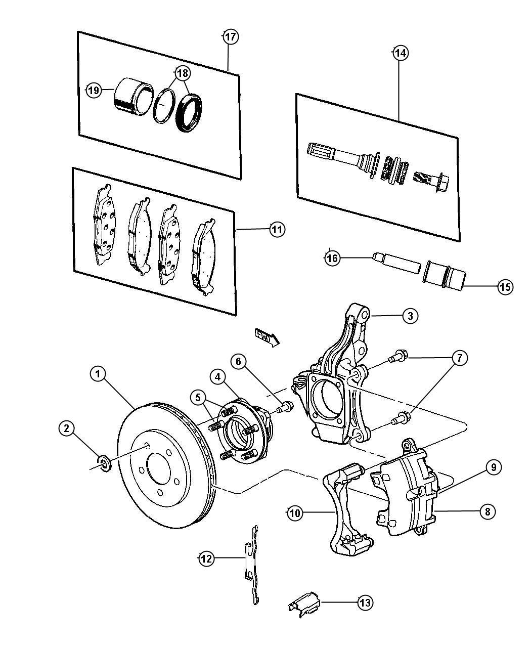 2004 Dodge Caravan Piston package. Disc brake. Left, right