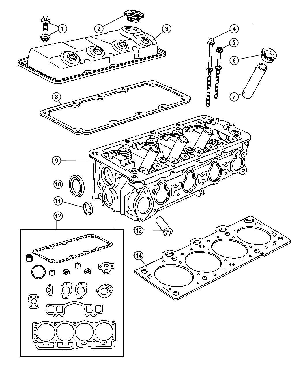 2001 Dodge Neon Gasket package. Engine upper. See note