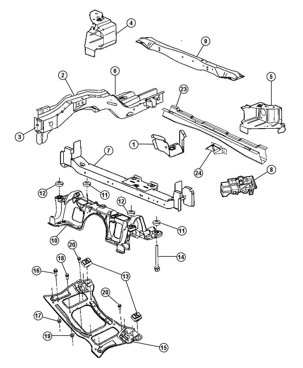 Chrysler Town & Country Bracket. Bumper to frame rail