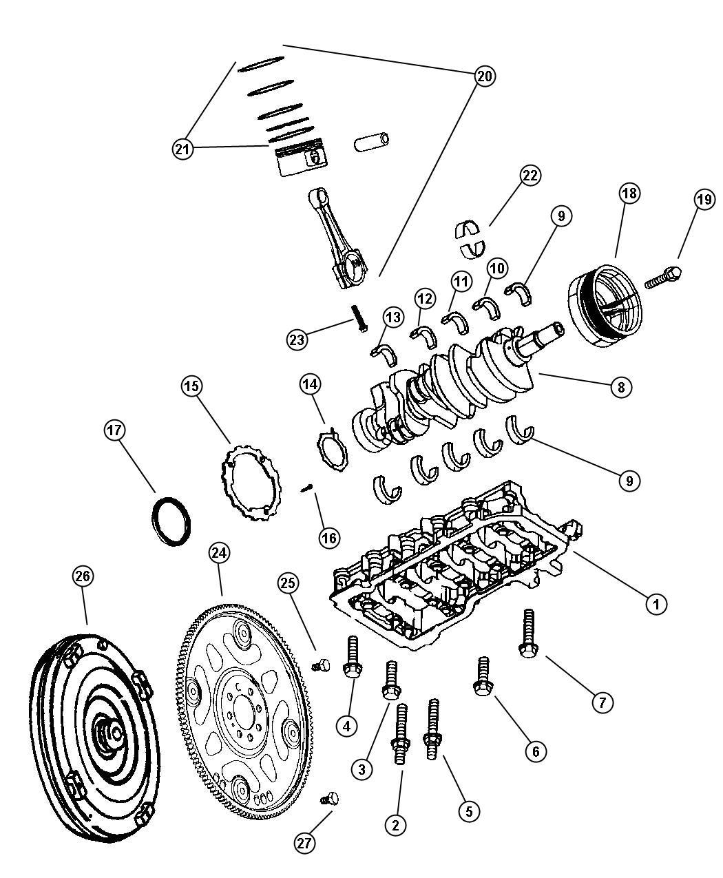 Dodge Durango Used For Piston Pin And Rod Std Engine Crankshaft Torque