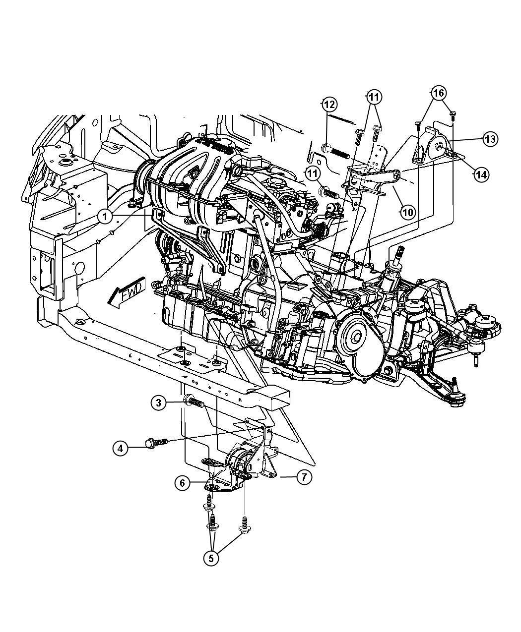 2011 Dodge Caliber Support. Engine mount. Transmission to