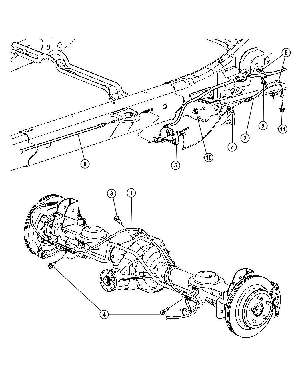 Dodge Durango Cable Parking Brake Left Rear System