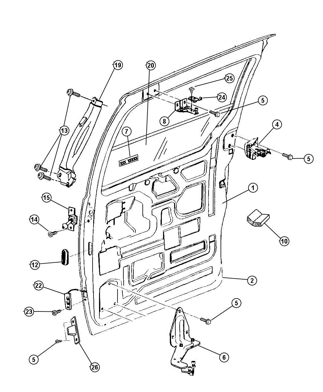 Chrysler Grand Voyager Glass. Sliding door. Left. Tint