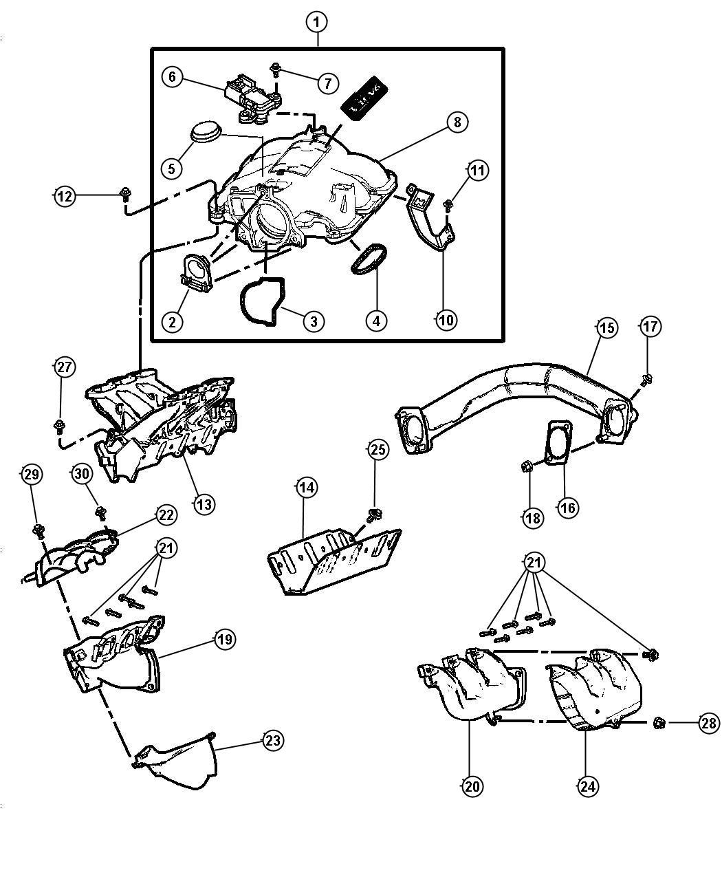 Dodge Caravan Seal Egr Tube W Plastic Manifold Egn Egv