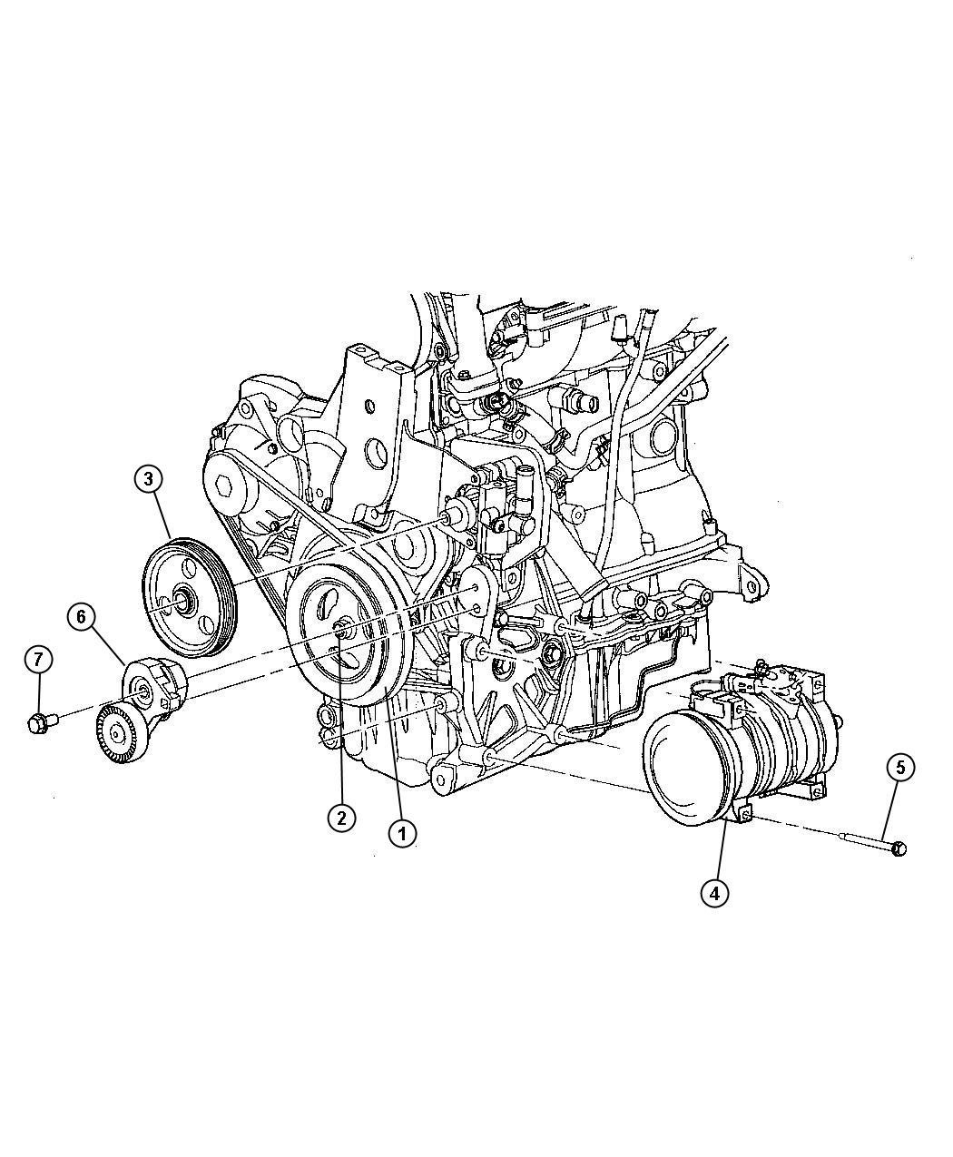 2008 Chrysler Sebring Pulley. Power steering pump. Engine