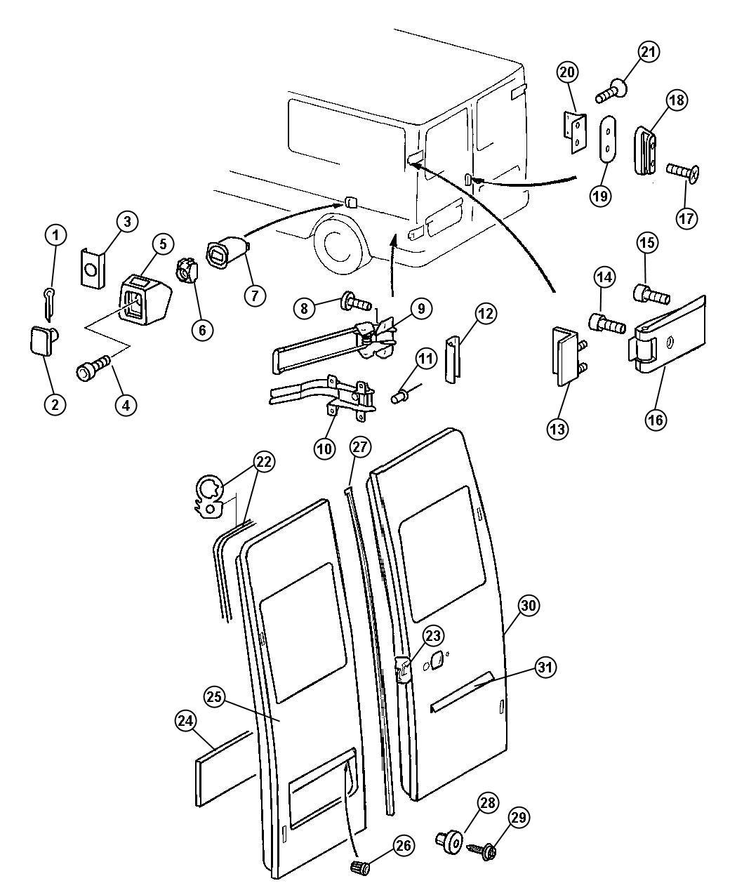 Dodge SPRINTER Hinge. Rear door. [rear hinged doors