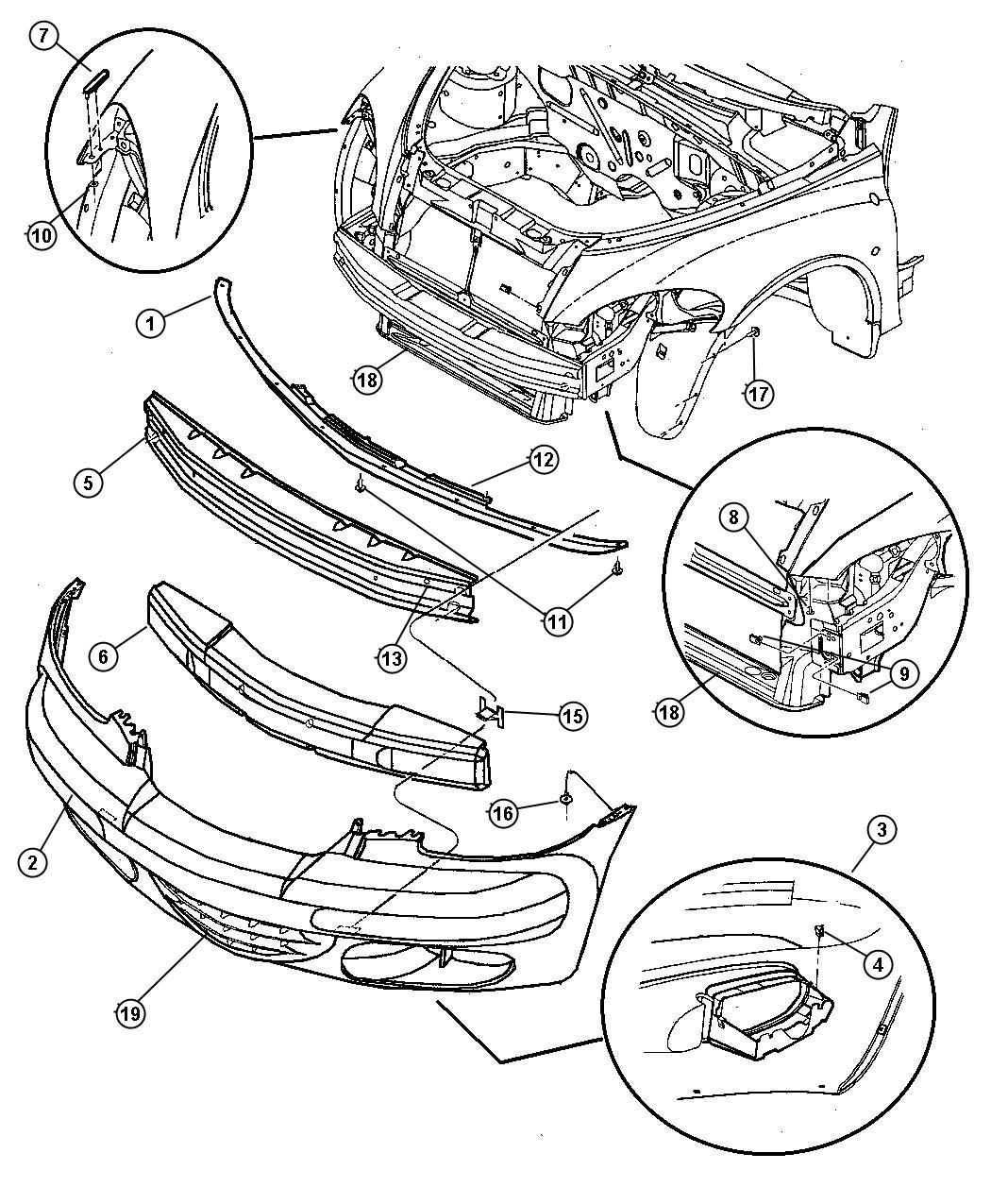Dodge Ram Absorber Front Bumper Fascia Body Color