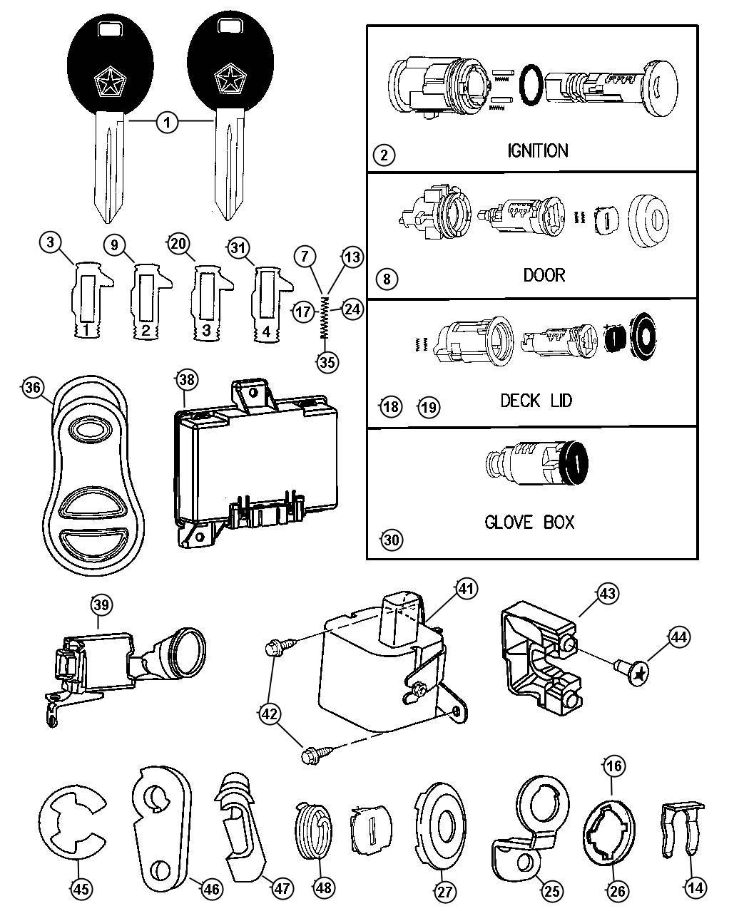 Chrysler PT Cruiser Clip. Latch. Rh. Locking, key, fuel