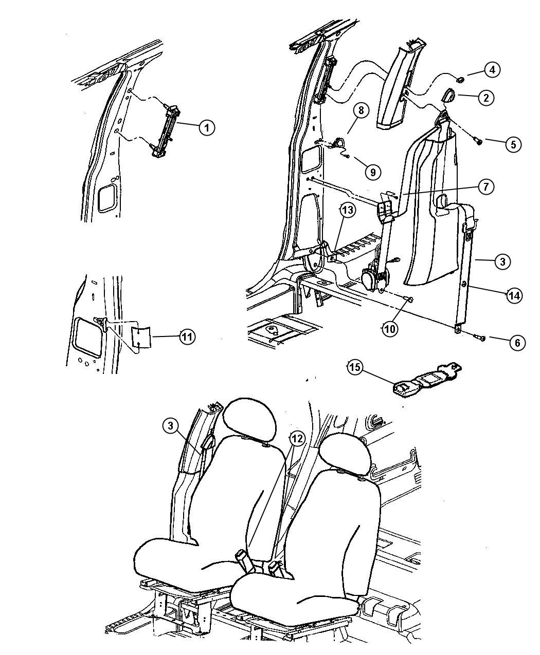 Chrysler PT Cruiser Seat belt. Front outer. Right. [dv