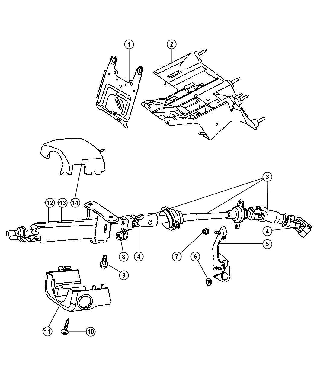 Dodge Caravan Shroud Steering Column Lower Trim All