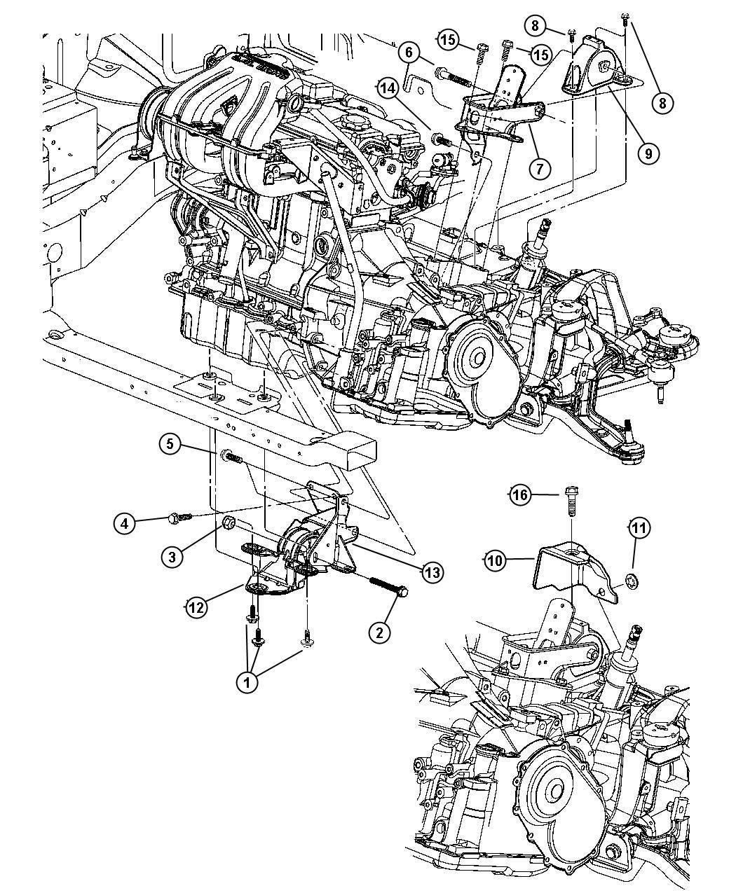 Dodge Caliber Bracket Transmission Support Rear