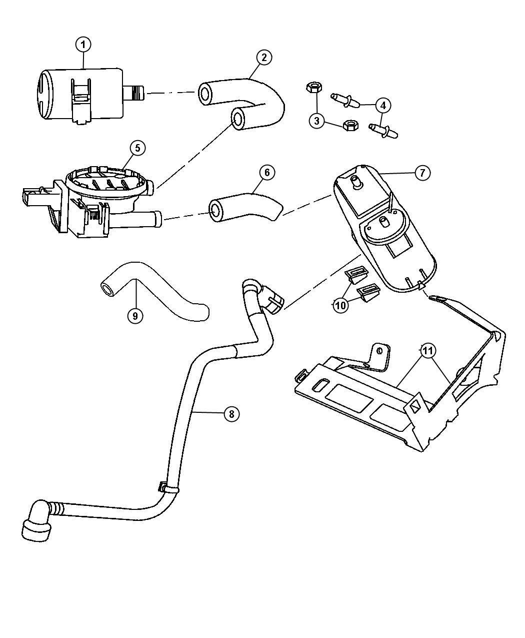 Dodge Magnum Hose Canister To Vent Valve Na1 Nas Emissions State Export