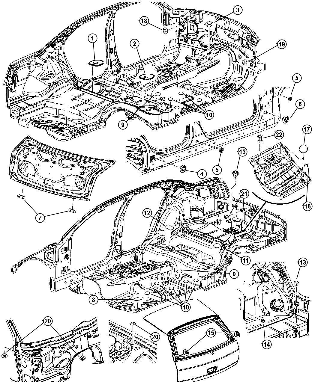 Dodge Magnum Plug Deck Lid Lower Liftgate Inner Panel