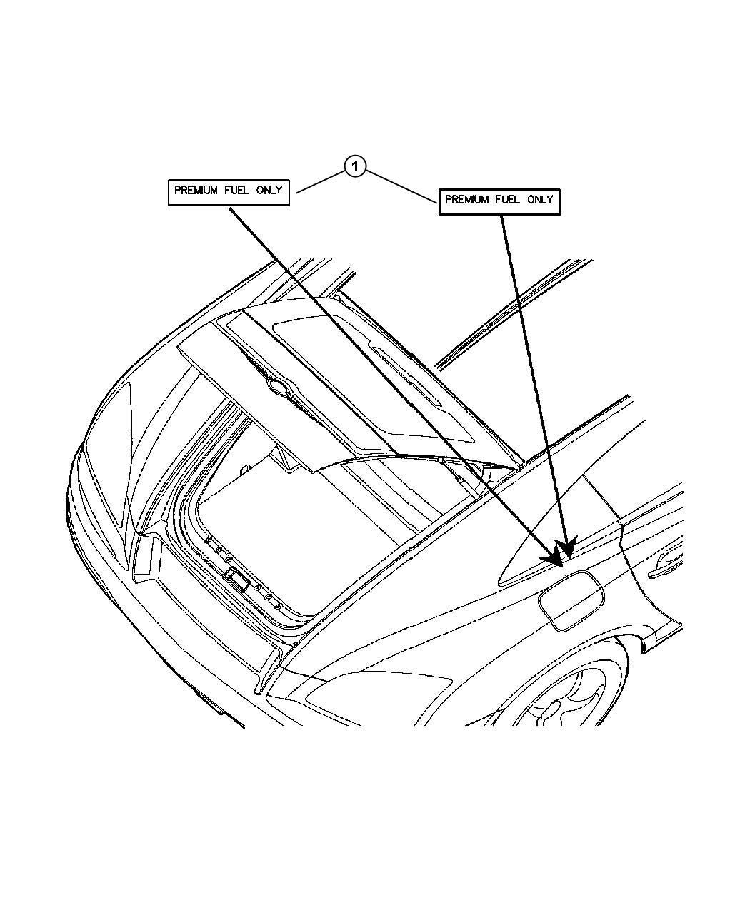 Chrysler Crossfire Label. Fuel. Fuel filler cap spanish