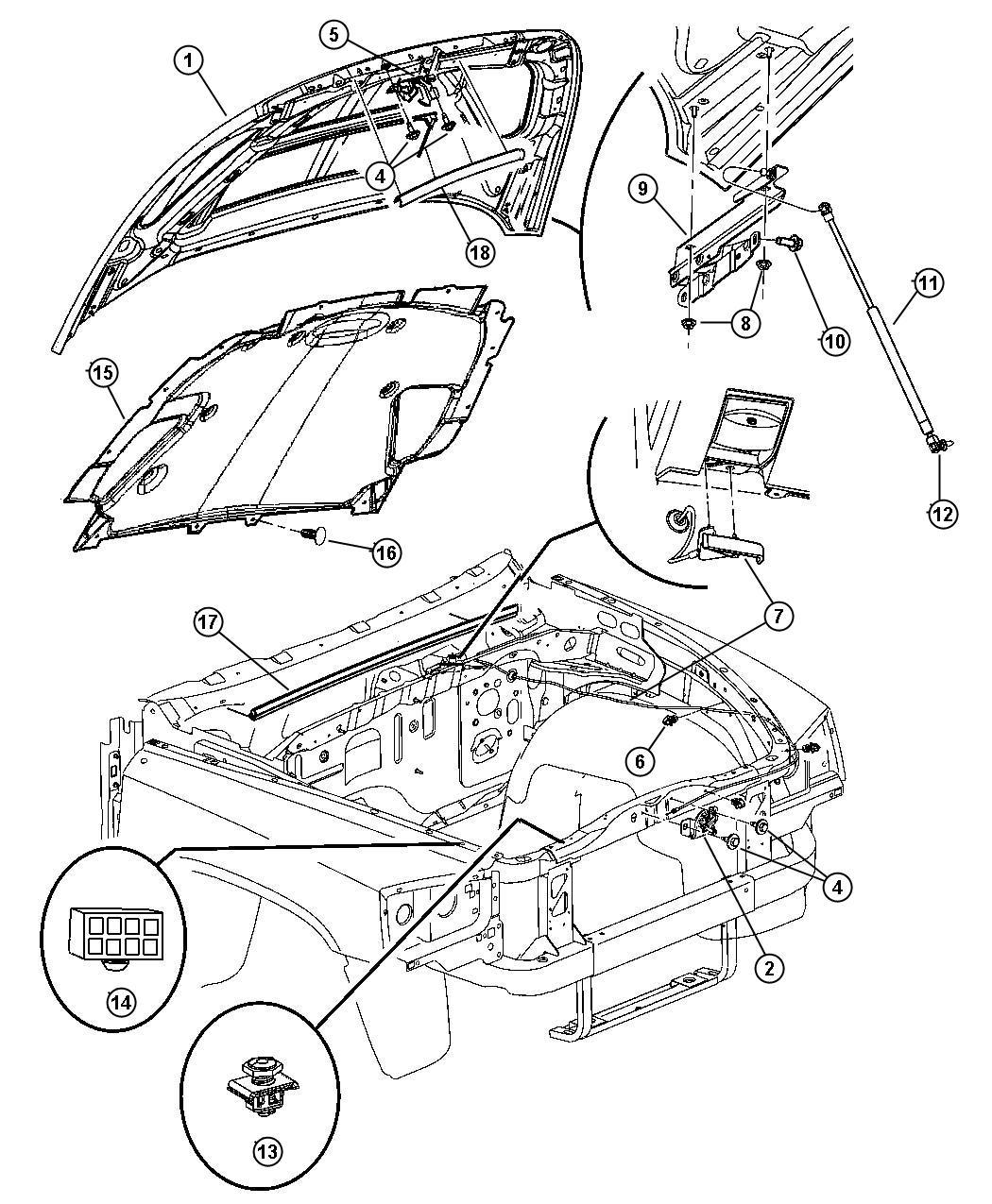 2005 Dodge Dakota Striker. Hood latch. Release, mopar