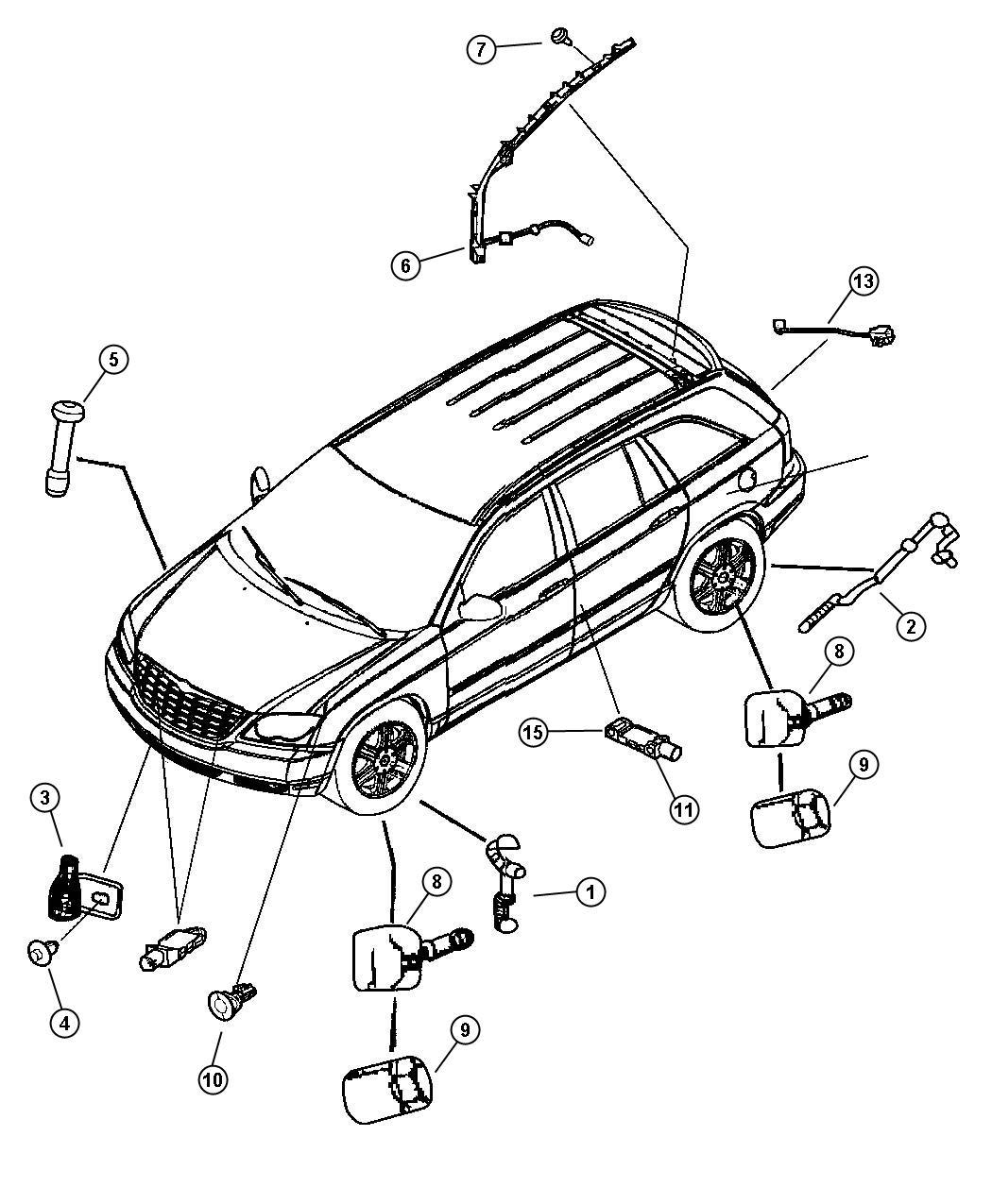2005 Chrysler Pacifica Sensor. Air bag. Front. Hydroform
