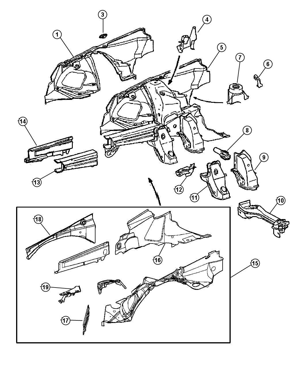 2005 Chrysler Crossfire Panel. Wheelhouse. Lhd
