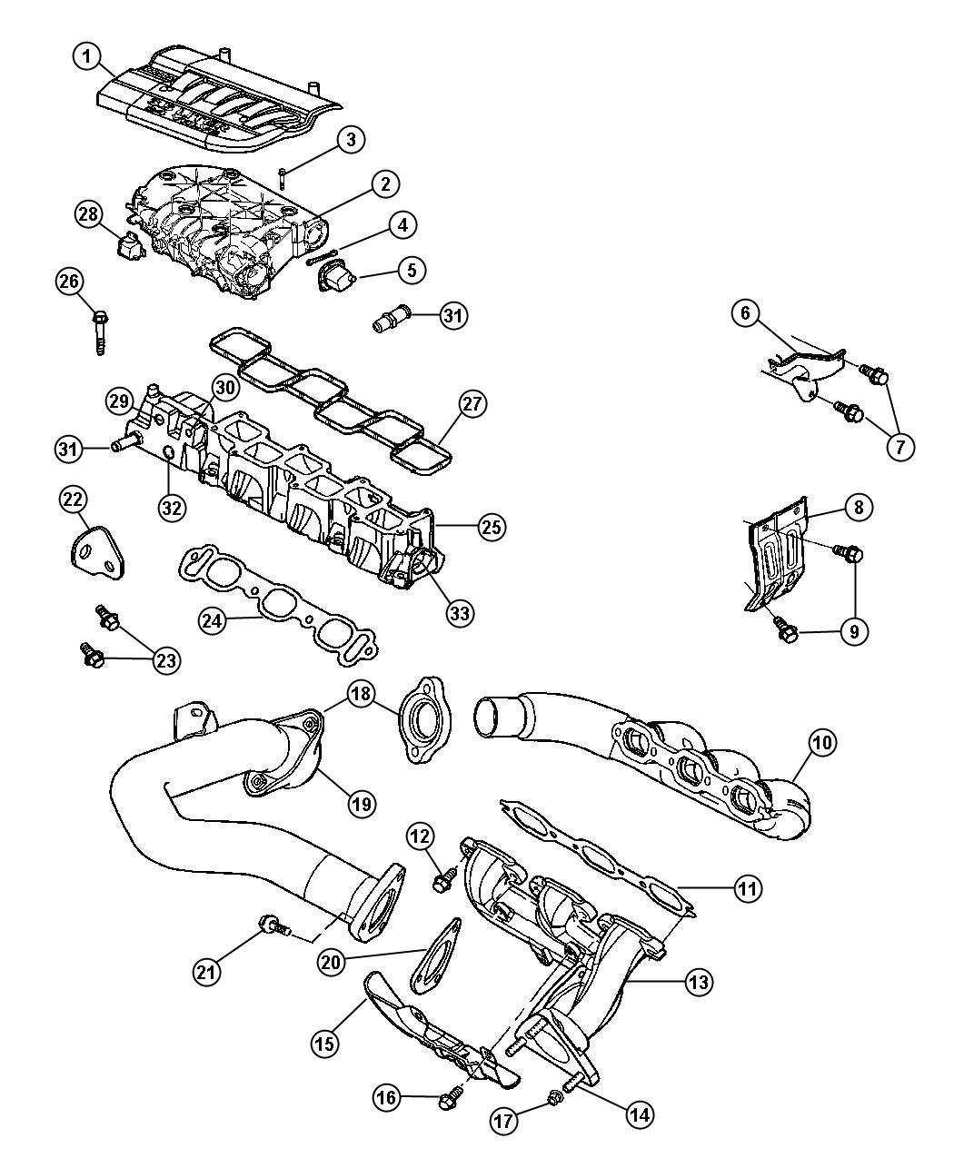 2005 Chrysler Pacifica Gasket. Exhaust manifold. Crossover