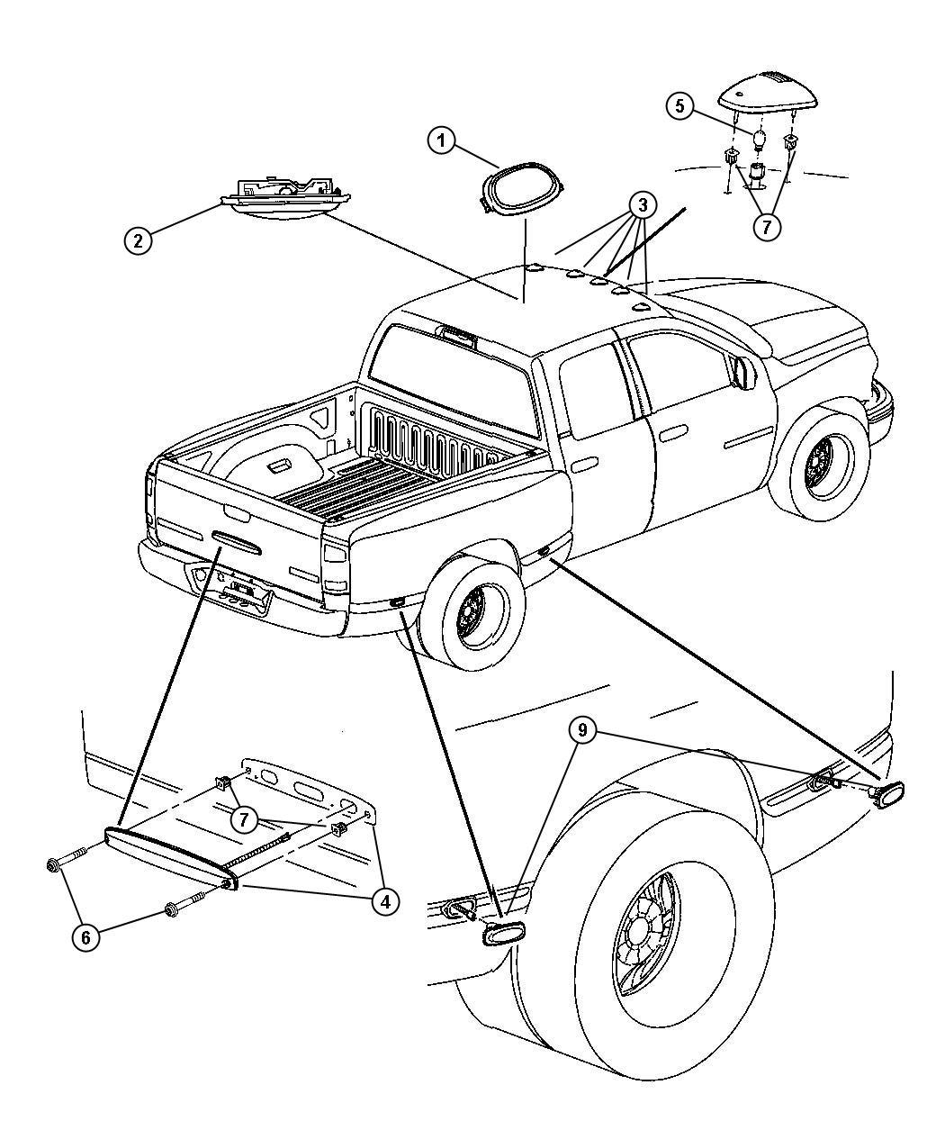 2005 Dodge Ram 2500 Lamp. Dome. Trim: [all trim codes