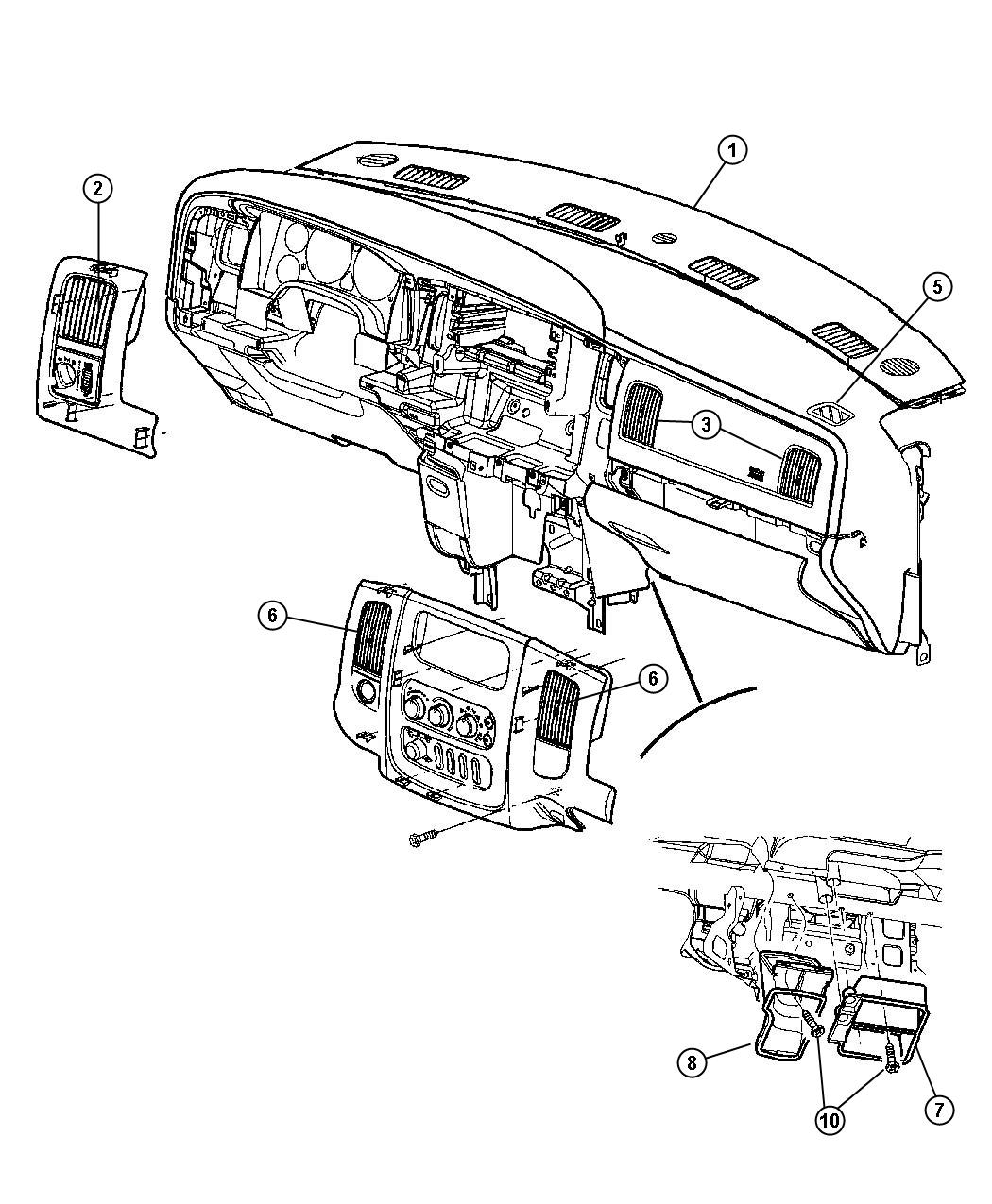2005 Dodge Ram 2500 Adapter. Defroster duct. Air, ducts