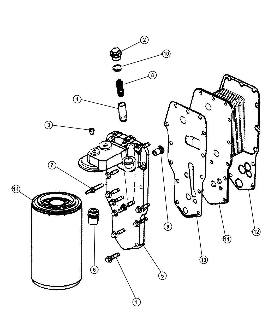 Dodge Ram Gasket Oil Cooler After 01 04 04