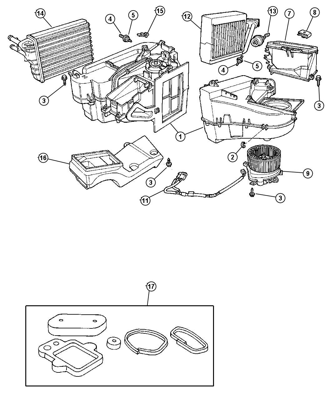 2005 Dodge Neon Seal kit. Used for: a/c and heater unit