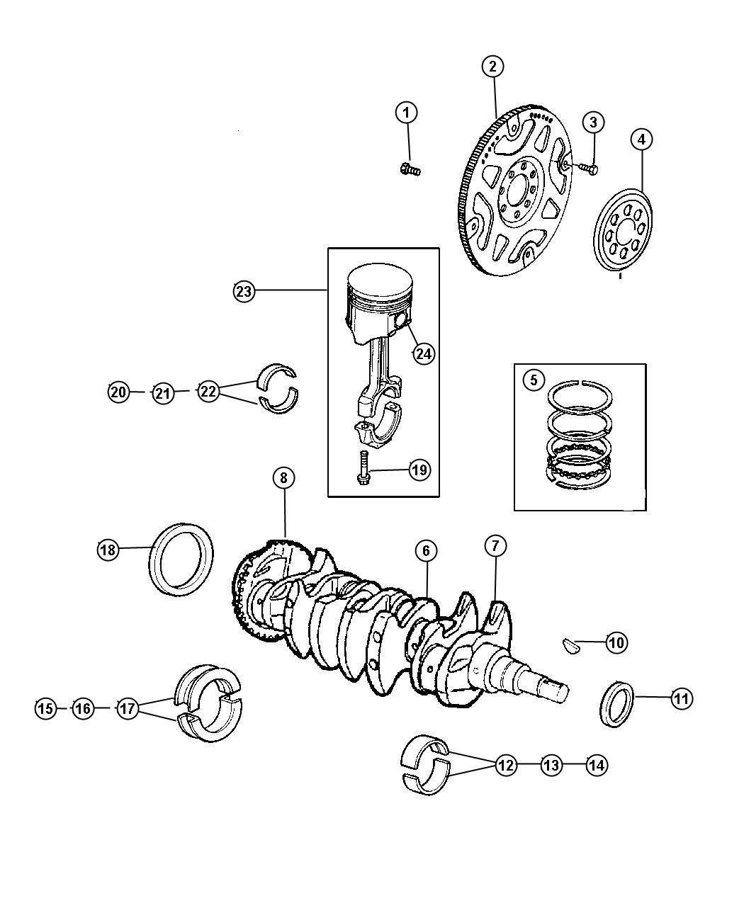 2005 Dodge Neon Bearing kit. Crankshaft. 25mm undersize