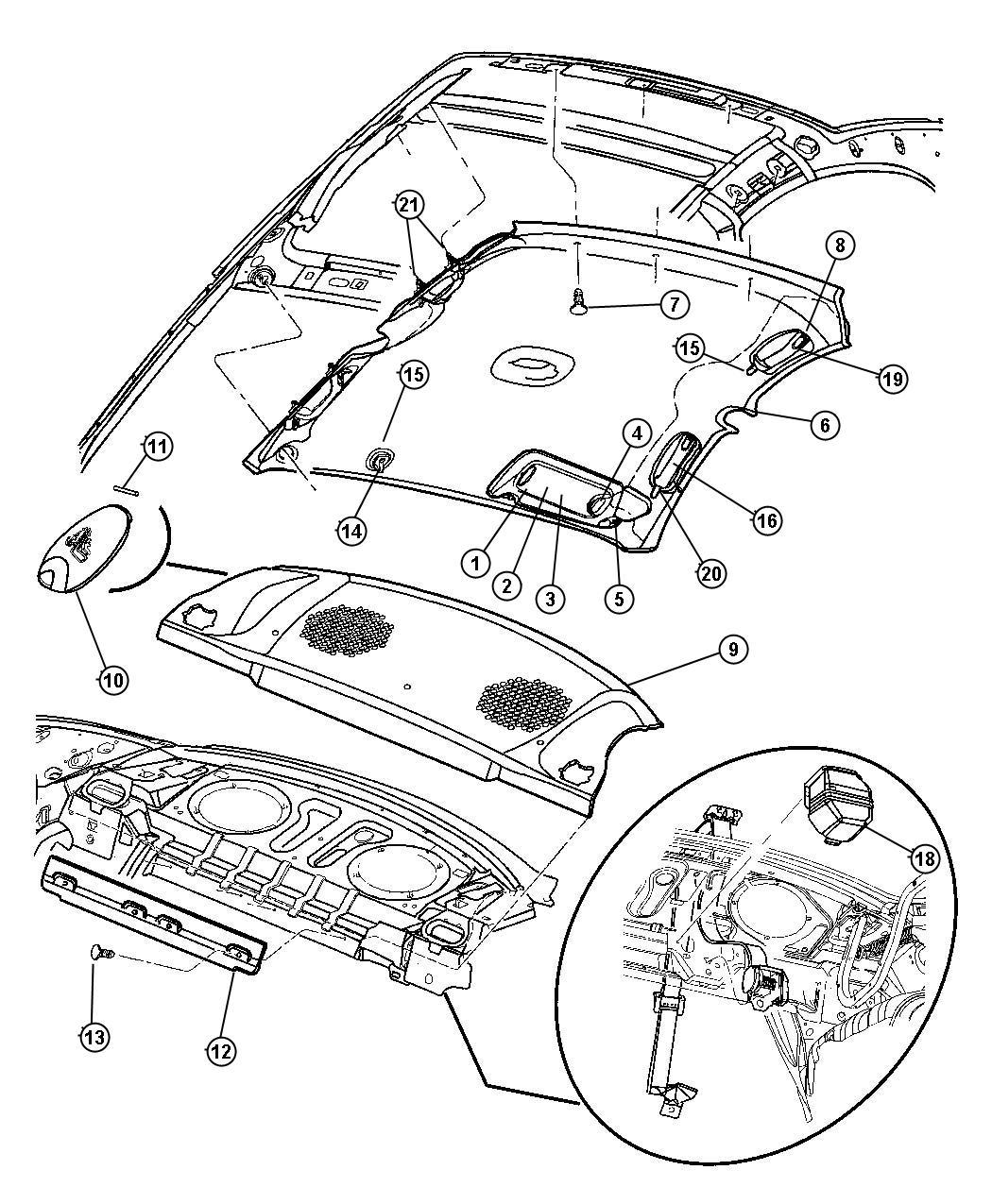 Dodge Neon Clip. Visor. [additional trim parts for sunroof