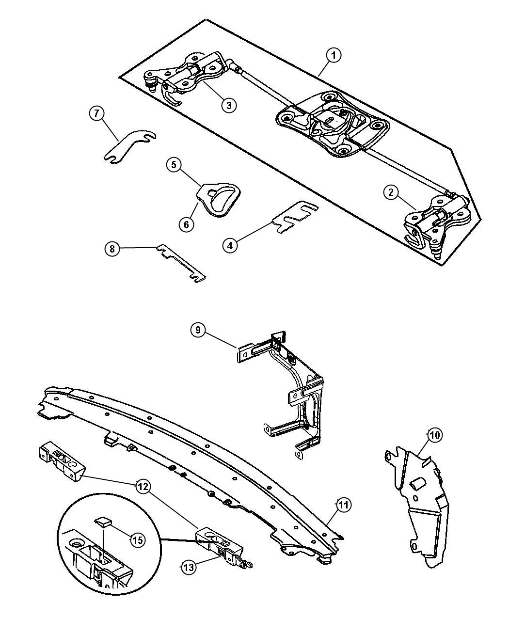 Chrysler Crossfire Guide. Latch pin. Assembly, body