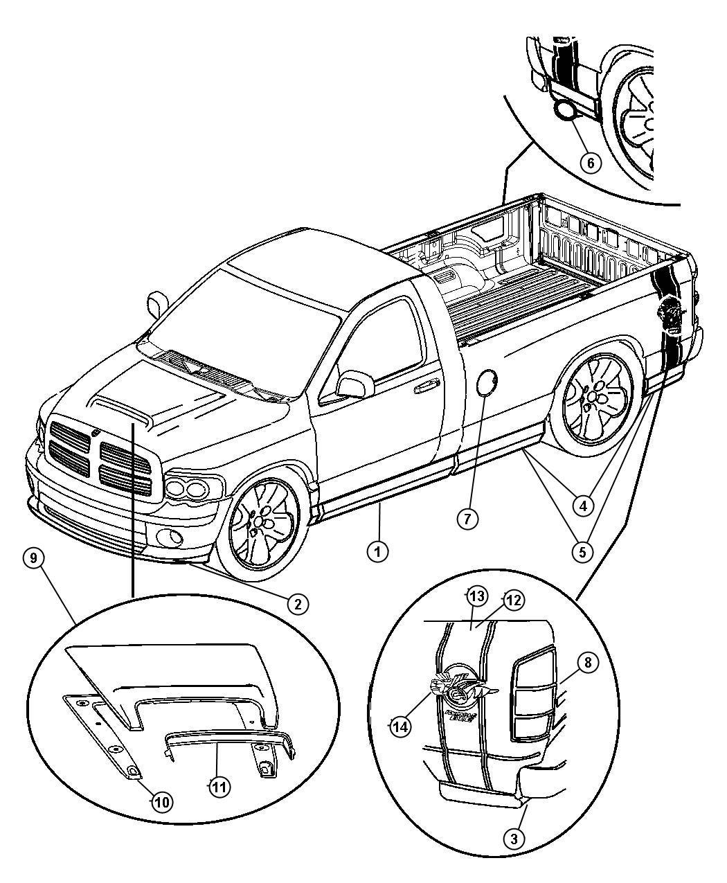 Dodge Ram Decal Kit Right Body Box Stripe