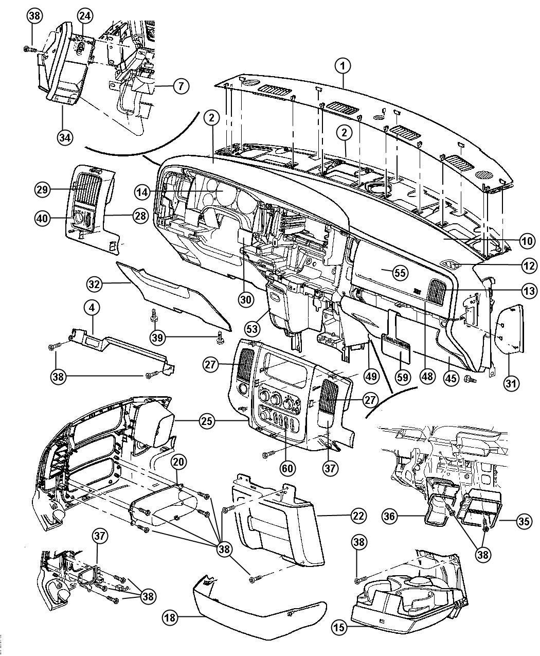 Dodge Ram Bracket Instrument Panel Trim All Trim