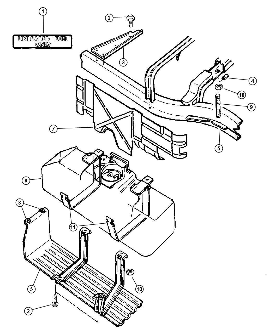 1987 Dodge Dakota Strap. Rear. Fuel tank. Strap, fuel tank
