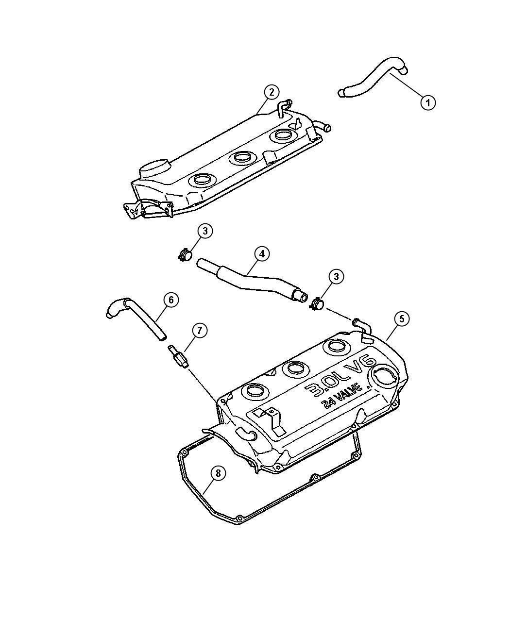 Dodge Stratus Valve. Pcv. Ventilation, crankcase, mmc