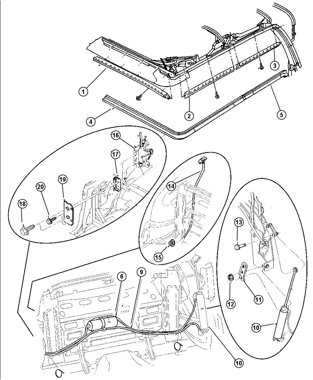 1997 Chrysler Sebring Screw. Hex flange head. Top, folding