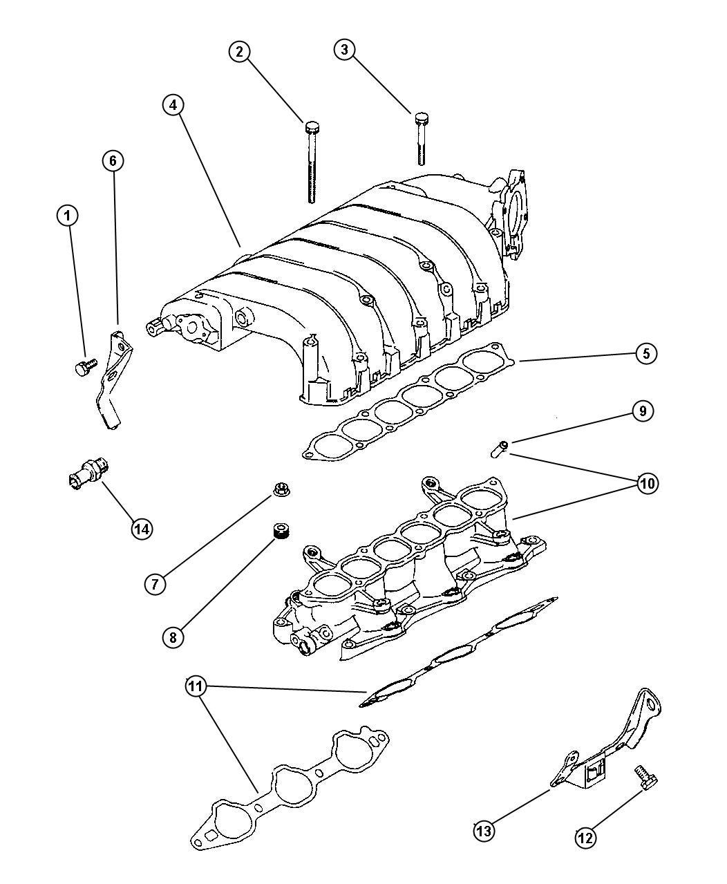 1996 Chrysler Cirrus Gasket. Intake plenum. Gasket, intake