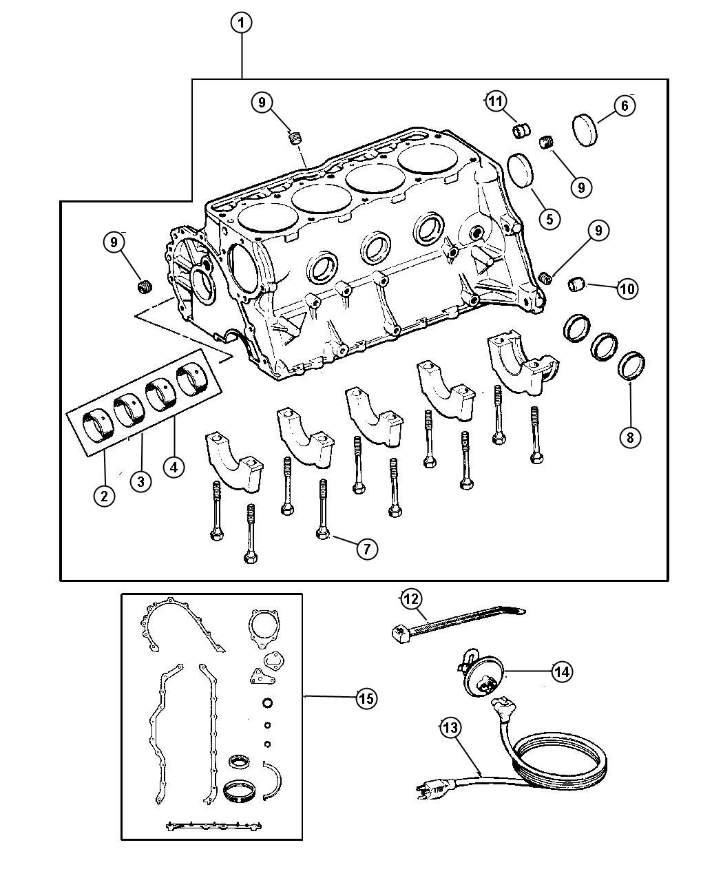 2009 Jeep Liberty Plug. Cylinder block. Rubber, rubber