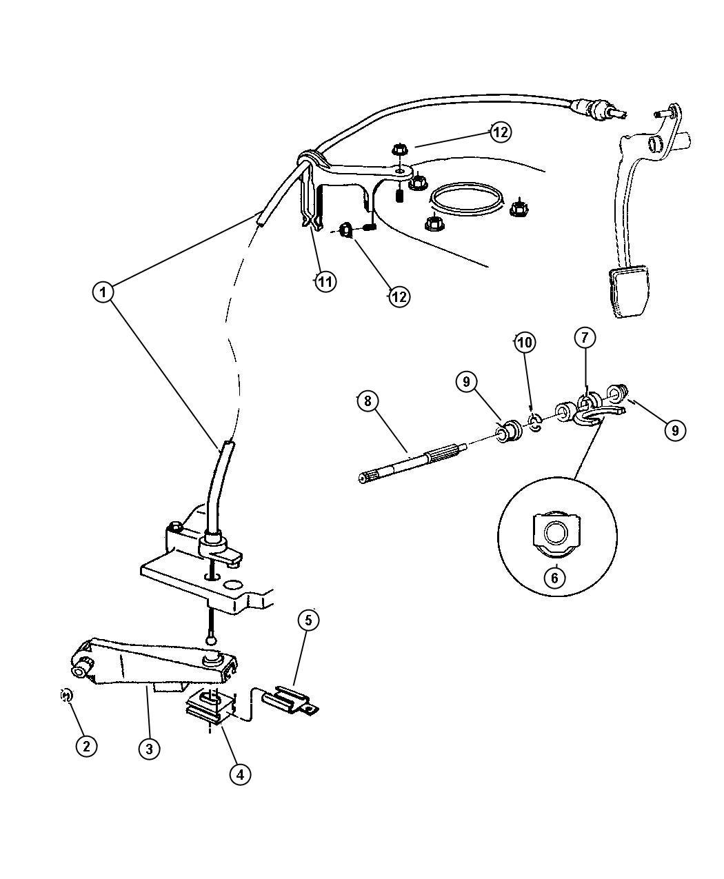 1990 Dodge Grand Caravan Grommet. Clutch cable retainer
