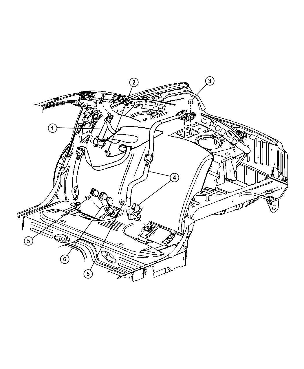 2005 Dodge Stratus Seat belt. Retractor. Right. [l5]. Trim