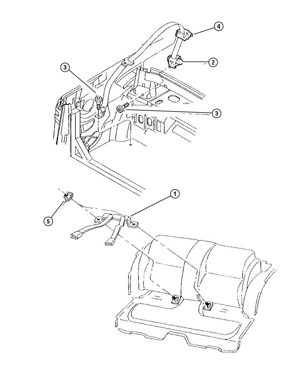 2005 Chrysler Sebring Seat belt. Rear inner. [l2], [p2