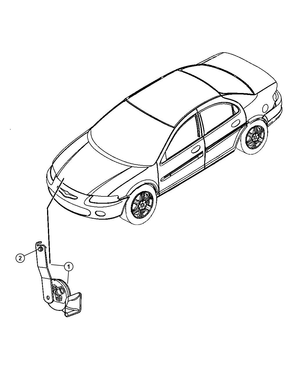 Chrysler Sebring Horn Low Note With Bracket Single